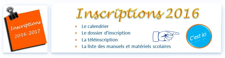 Inscriptions 2016